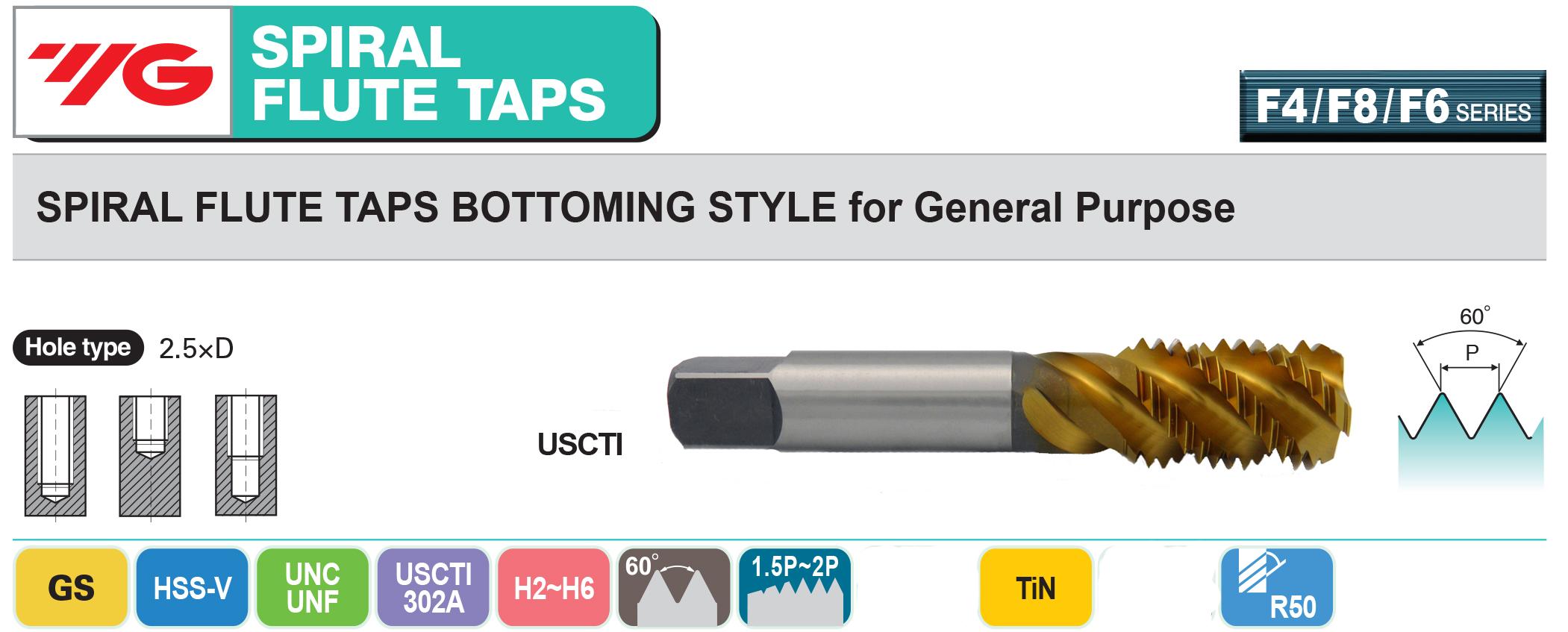 3//4-10 H3 4 Spiral Flute YG1 Bottom Tap HSS-V Hardslick Coated