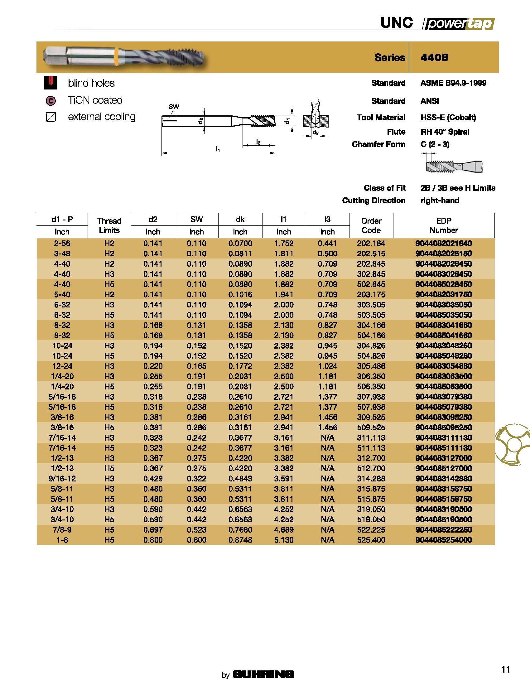 Guhring Powertap 5//8-11 Spiral Point tap HSS-E Cobalt TiCN