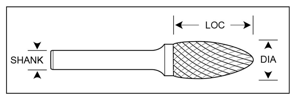 "3//16/"" Diameter 1//8/"" Shank Flame Shape USA Carbide Burr Double Cut SH-53"