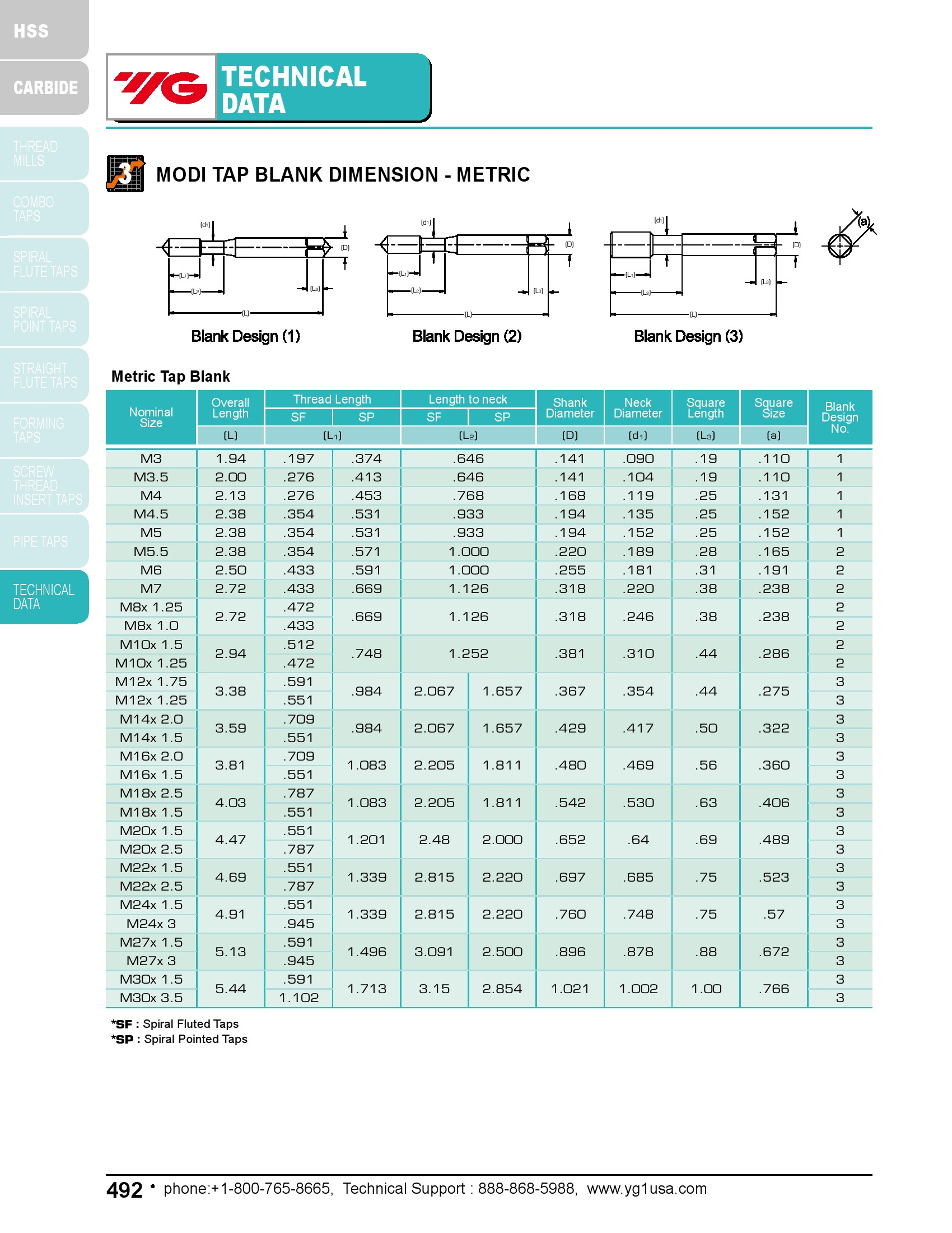 M14 x 1.5 D6 Spiral Flute Bottom Tap HSS-EX ANSI CNC YG1 Multi-Purpose Combo-Tap