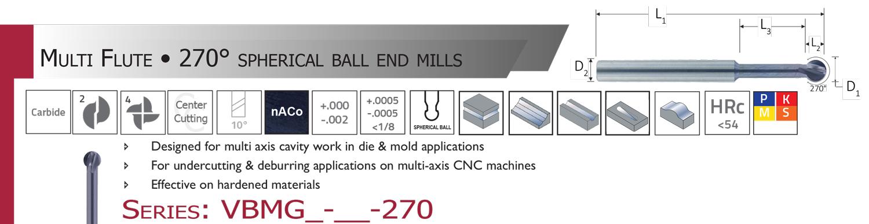 "1//8/"" Dia 300° 1.5/""Long//.093/"" Reach Spherical 4FL Carbide End Mill nACo Melin USA"