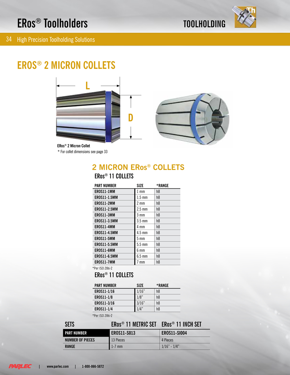 ERos®11 Precision Collet (2 micron) 4mm H10 (on size) Collapsed ...