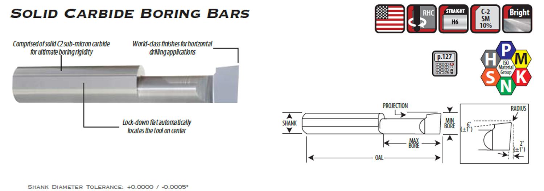 "0.500/"" Depth .120/"" Minimum Bore ALTiN Micro-100 Carbide Boring Bar"