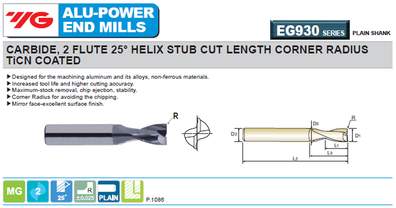 90 mm Length TiCN Finish YG-1 EG930120 Carbide Alu-Power Corner Radius End Mill 12.0 mm 2 Flute Stub Cut Length 25 Degree Helix