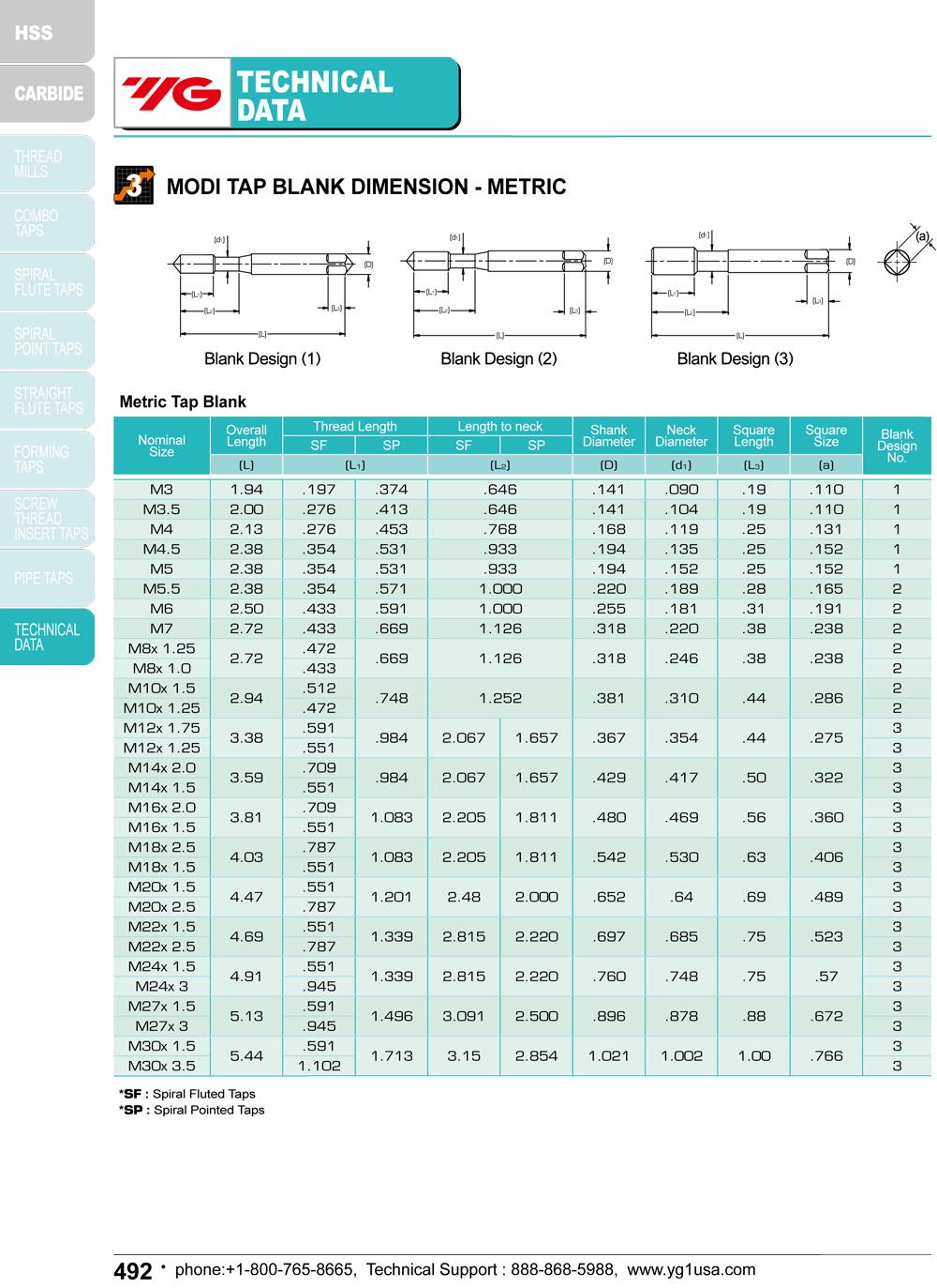 M20 x 2.5 D7 4 Spiral Flutes Bottom HSS-EX TiN ANSI CNC Coolant-Thru Combo-Tap