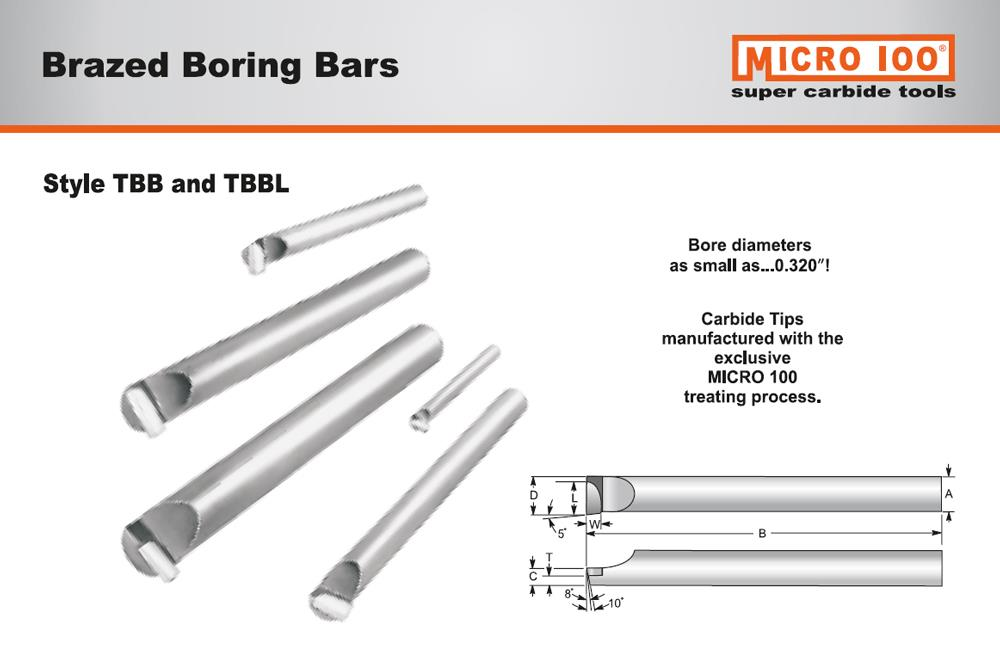 Micro Carbide Indexable Boring Bars : Quot shank long lh boring bar w brazed carbide tip