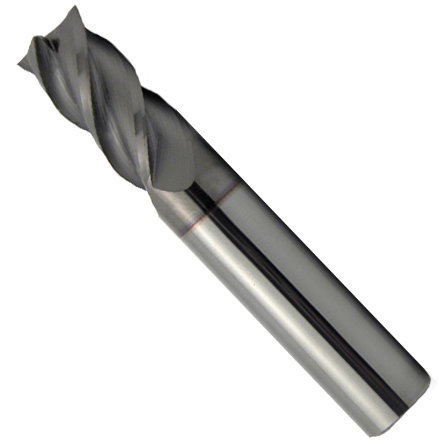"3//8/"" Diameter 1/"" LOC 2 Flute Single End AlTiN Carbide End Mill USA #56610"