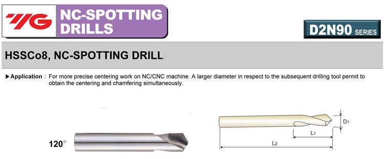 YG-1 TOOL COMPANY Spotting Drill,120 Deg.,1//2 in. 2321L