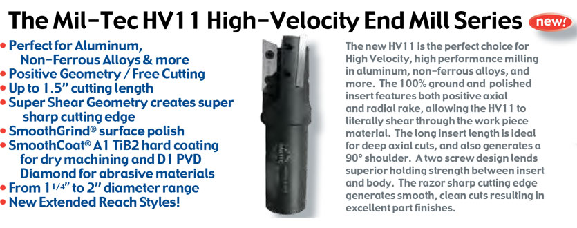 The Mil-Tec HV11 High-Velocity End Mill Series
