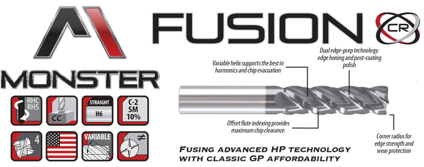 Monster Fusion Hi-Performance Variable Helix Carbide End Mills