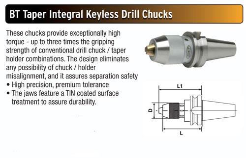 "1//2/"" Capacity Sowa GS Premium CAT40 Integral Shank Precision Keyless Drill Chuck"
