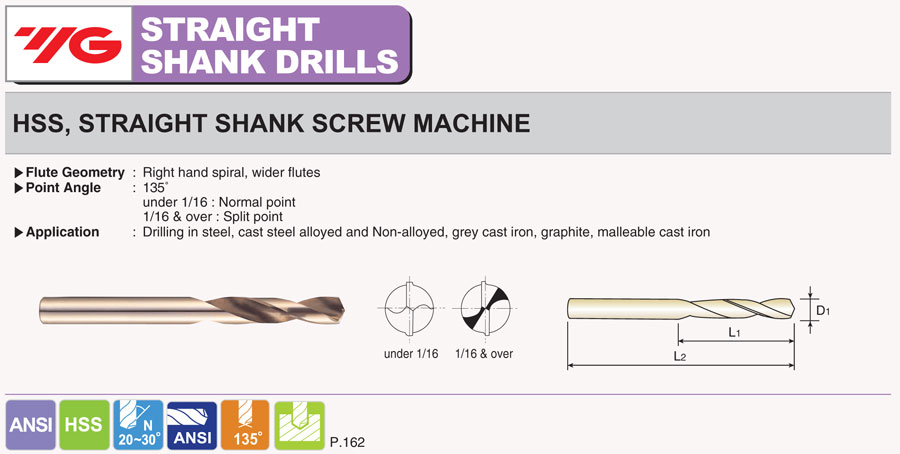 """Dia High Speed Steel 135° Split Point Bright Stub Drill YG-1 10pcs #14 .1820/"""""""